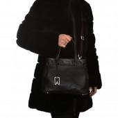 Δερμάτινη Τσάντα Arcadia Black χειρός / χιαστί (9730)