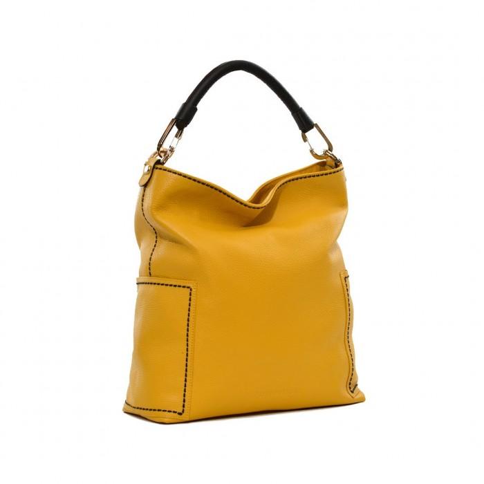 Δερμάτινη Τσάντα Plinio Visona Yellow χειρός / ώμου (14601)