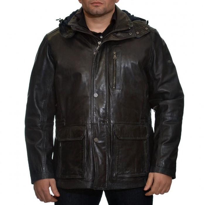 Δερμάτινο Jacket 76 cm Lamb Blue Black Trapper (Kyle)