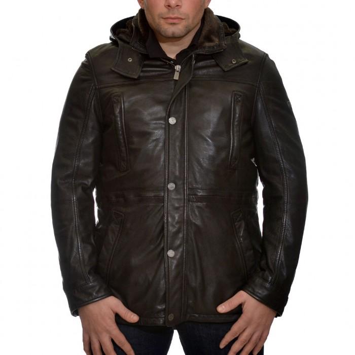 Δερμάτινο Jacket 77 cm Lamb Black Trapper (Stefan)