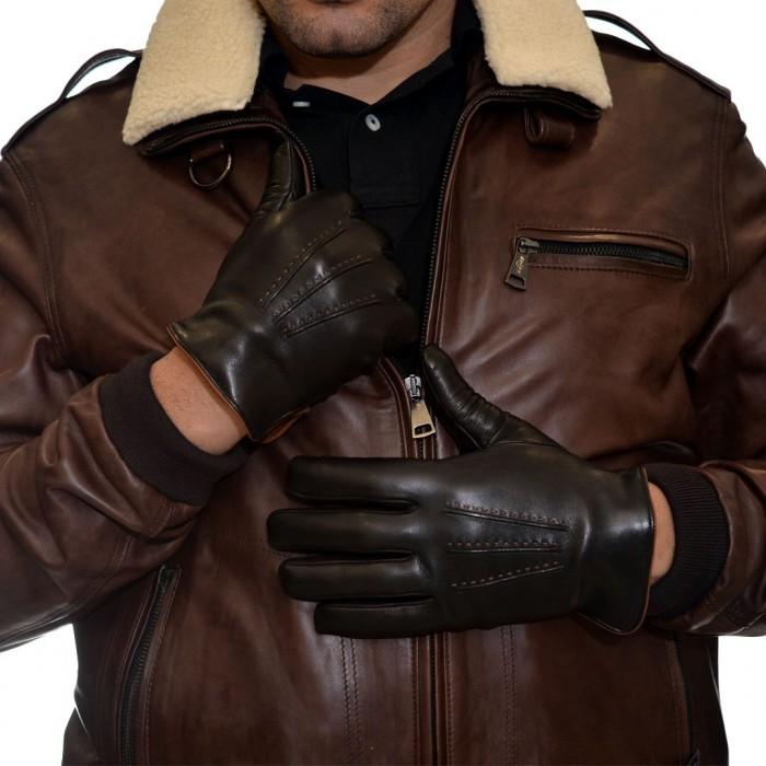 Δερμάτινα Ανδρικά Γάντια Black BRUNO CARLO (331-S)