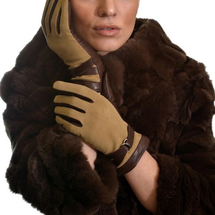 Δερμάτινα Γυναικεία Γάντια Suede Lamb Brown ANTONIO MUROLO (9021)