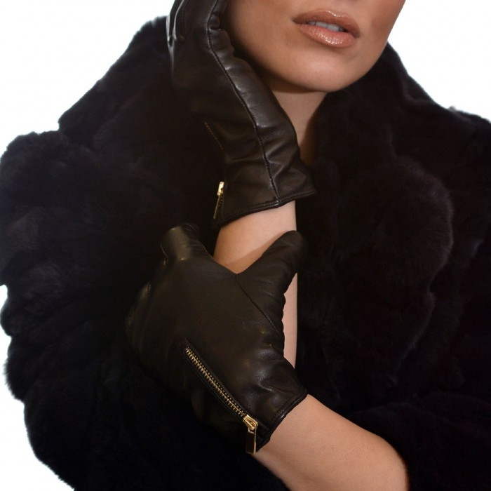 Δερμάτινα Γυναικεία Γάντια Lamb Black BRUNO CARLO (602)