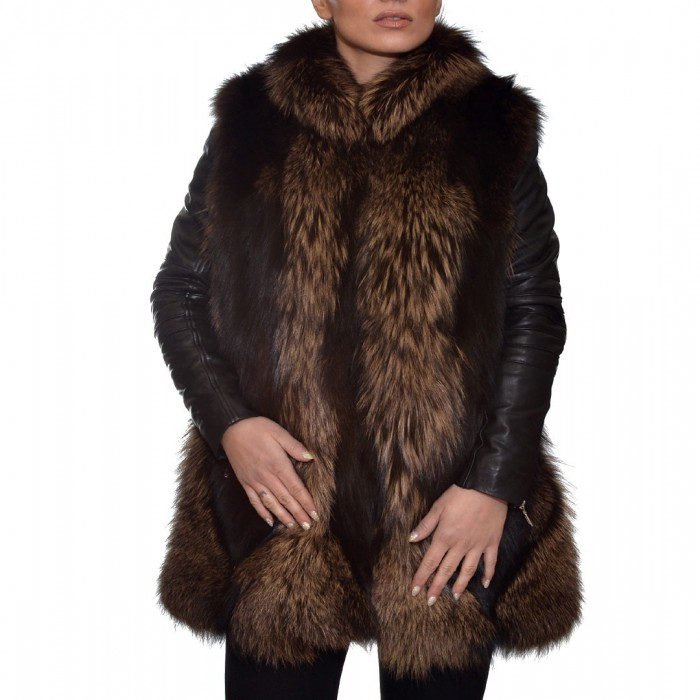 Γούνινο Γιλέκο 78cm Black & Brown ΣΙΟΥΤΗΣ (9038)