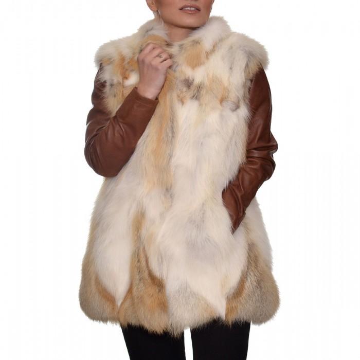 Γούνινο Γιλέκο Fox 76cm White & Camel ΣΙΟΥΤΗΣ (9034)