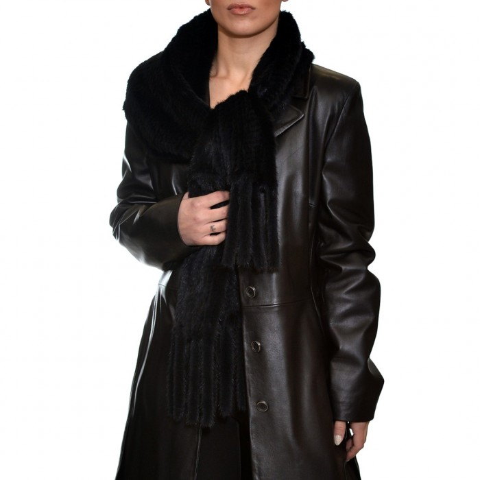 Γούνινο Mink κασκόλ (160x25cm) Black LEVINSKY (9056)