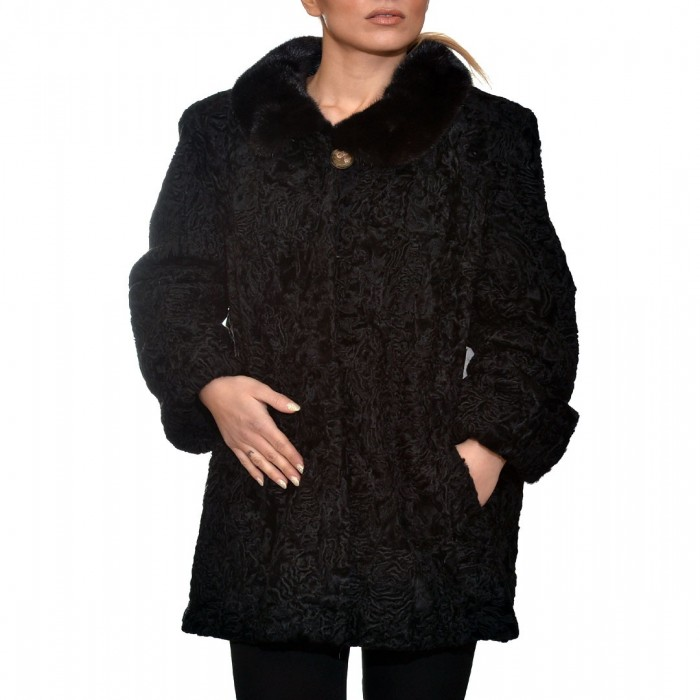 Γούνινη Ζακέτα Αστραγκάν 77cm Black ΣΙΟΥΤΗΣ (142)