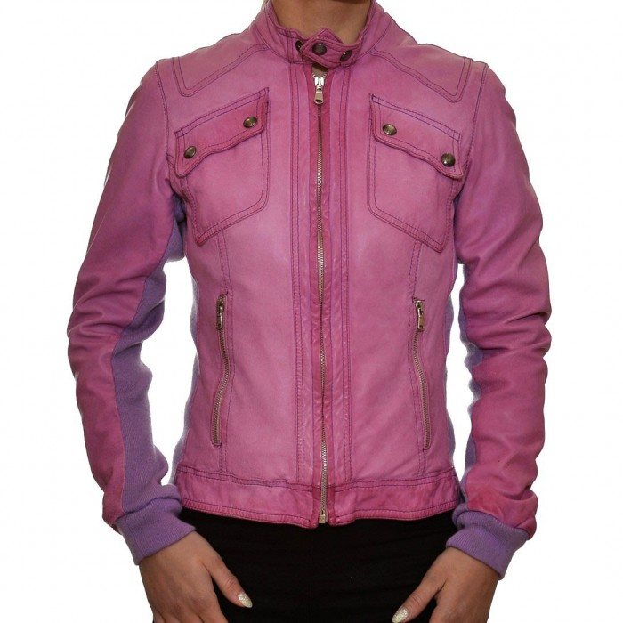 Δερμάτινο Μπουφάν ροζ λιλά DELAN (A600)