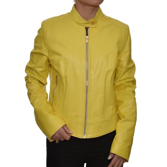 Δερμάτινο Μπουφάν Yellow JUST FOR LUCK (15228)
