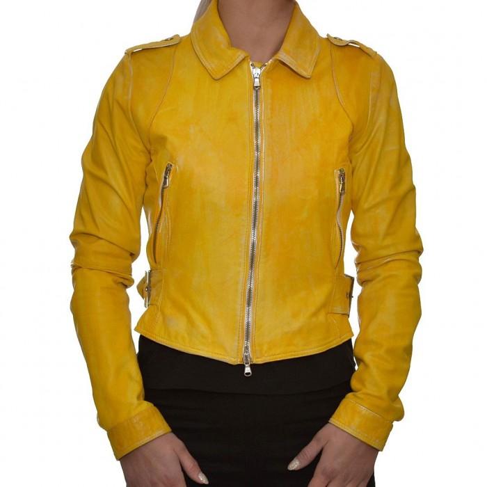Δερμάτινο Μπουφάν Yellow TIMELESS (PENELOPE)