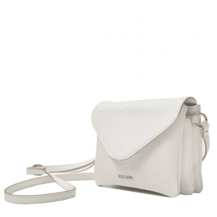 Δερμάτινη τσάντα Arcadia Λευκό Χιαστί (343)